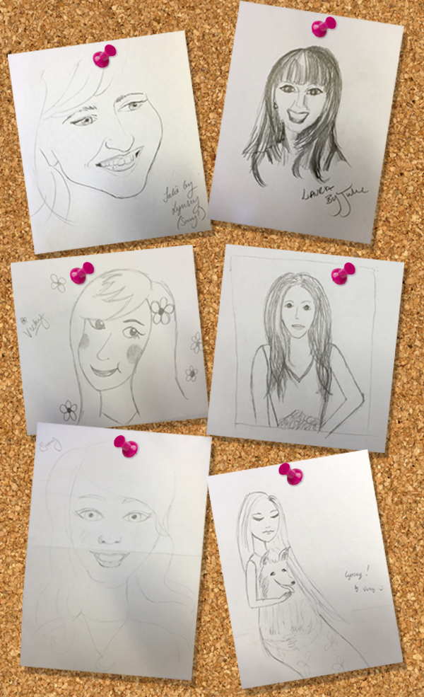 WonderSketches on cork board