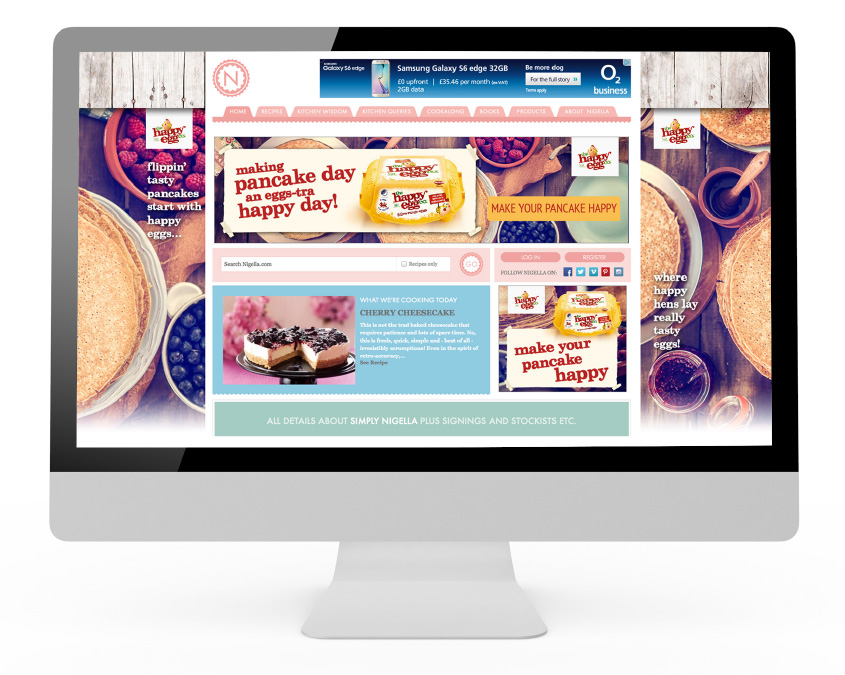 Homepage takeover for Pancake day, as designed by The Wonderland for The Happy Egg Co.
